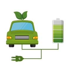 Eco car leafs isolated icon vector