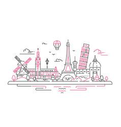 European landmarks flat design composition vector