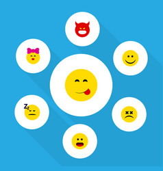 Flat icon emoji set of cross-eyed face wonder vector