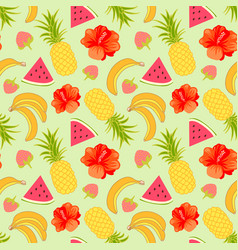 floral seamless pattern with tropical fruit vector image