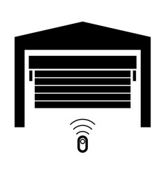 Garage door the black color icon vector