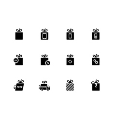 Gift icons set on white background vector image