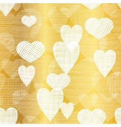 Golden white hearts textile texture vector