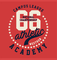 graphic campus league athletic vector image vector image