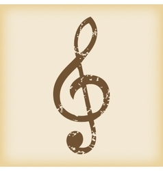 Grungy treble clef icon vector