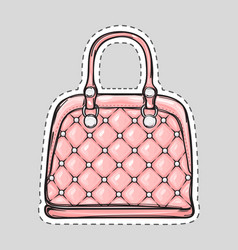 Handbag patch with handle clips isolated in flat vector