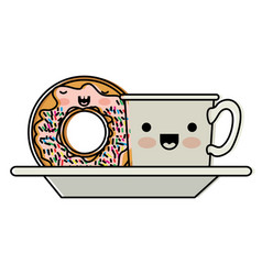 kawaii coffee cup and donut with cream glaze on vector image