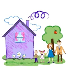 Kids sketch of happy family with house vector image vector image