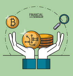 money and financial technology vector image