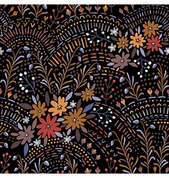 pattern floral black vector image