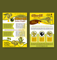 Posters for olive oil organic product vector