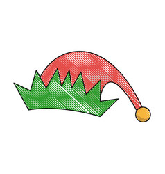 Red and green cartoon christmas elf hat vector