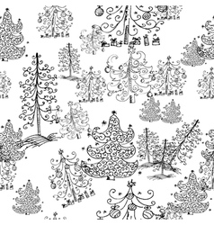seamless background from christmas trees vector image vector image