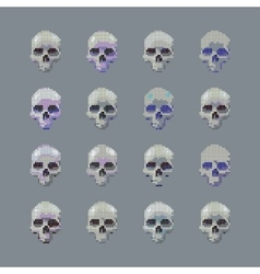 Set of stylized skull on a gray background vector