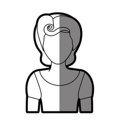 Silhouette shading of faceless half body woman vector