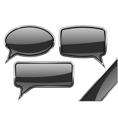Speech bubbles set of black communication 3d vector