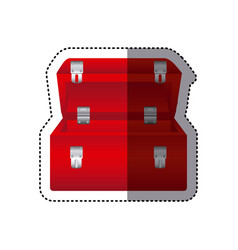 Sticker colorful red tool box vector