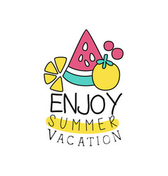 Summer vacation logo with abstract fruits kids vector