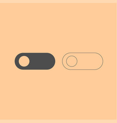 Toggle switch dark grey set icon vector