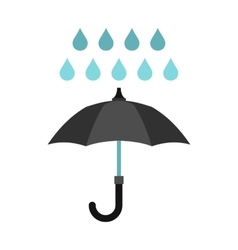 Umbrella and rain icon flat style vector image vector image