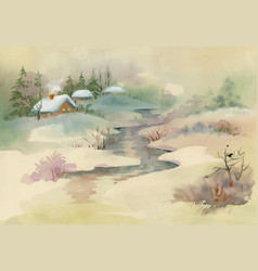Watercolor rural house in winter day vector
