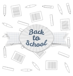 Back to school paper badge with ribbon vector