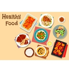 Healthy food dishes icon for lunch menu design vector image