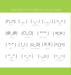 Set of japan style text emoji isolated on white vector