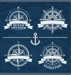 Set of vintage nautical design elements vector