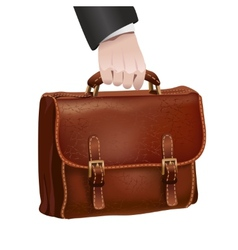 Businessman hand holds leather briefcase vector image