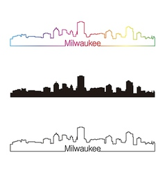 Milwaukee skyline linear style with rainbow vector