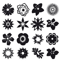 A set of silhouettes of flowers vector