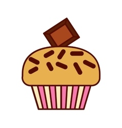 Cupcake delicious modern flat vector image