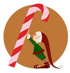 Christmas Elf and a big christmas candy vector image