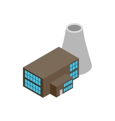 Nuclear power plant 3d isometric icon vector