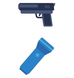 Pistol and flashlight vector