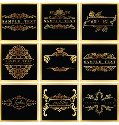 Decorative ornate golden quad frames vector