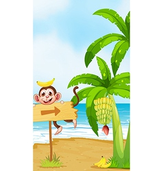 A monkey with a banana above the head playing near vector image vector image