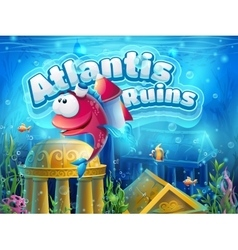 Atlantis ruins funny fish - vector