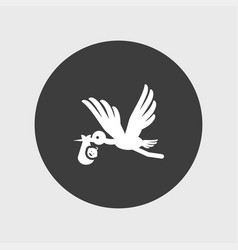 Baby and stork icon simple vector