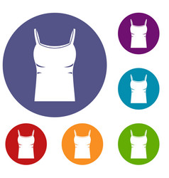 Blank women tank top icons set vector