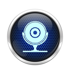 Blue honeycomb web cam icon vector