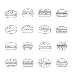 Burger icons set outline style vector