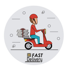 circular frame background with fast pizza delivery vector image