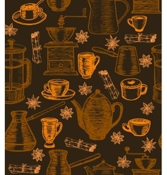 coffee background with utensils and spices vector image vector image
