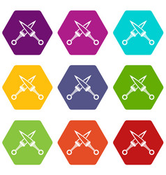 crossed japanese daggers icon set color hexahedron vector image vector image
