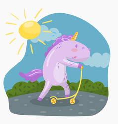 Cute funny unicorn riding kick scooter in sumer vector