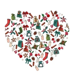 Decorative heart with Christmas decoration vector image vector image