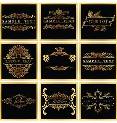 Decorative ornate golden quad frames vector