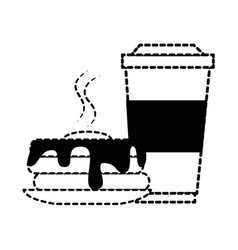 Delicious pudding with beverage vector